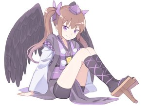 Rating: Safe Score: 36 Tags: bike_shorts bow brown_hair hat himekaidou_hatate japanese_clothes kneehighs long_hair purple_eyes shorts tagme_(artist) touhou twintails wings User: BattlequeenYume