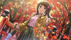 Rating: Safe Score: 23 Tags: autumn blue_eyes blush brown_hair forest leaves long_hair necklace original ponytail skirt tree umbrella yoropa User: BattlequeenYume