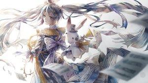 Rating: Safe Score: 47 Tags: animal blue_eyes blue_hair bow dress gradient hatsune_miku long_hair misaki_yuu_(misaki_1192) paper rabbit ribbons twintails vocaloid waifu2x yuki_miku yukine_(vocaloid) User: BattlequeenYume