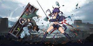Rating: Safe Score: 36 Tags: arknights ch'en_(arknights) hamachi_hazuki horns hoshiguma_(arknights) long_hair sword twintails weapon User: Dreista