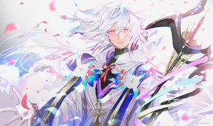 Rating: Safe Score: 34 Tags: all_male fate/grand_order fate_(series) gloves hoodie long_hair male merlin_(fate/grand_order) mullpull petals pink_eyes staff watermark white_hair User: otaku_emmy