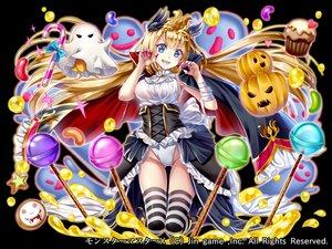 Rating: Safe Score: 34 Tags: aqua_eyes bandage blonde_hair candy cape dress hakudatofu halloween honey lollipop long_hair original pumpkin thighhighs watermark User: otaku_emmy