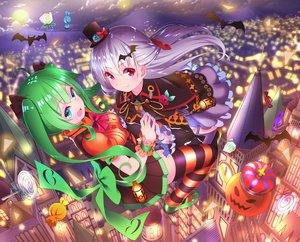 Rating: Safe Score: 25 Tags: 2girls aliasing animal aqua_eyes bat bow building candy cape city clouds crown fang green_hair halloween hat lollipop long_hair moon original pumpkin red_eyes skirt sky thighhighs twintails white_hair yuujin_(mhhnp306) User: RyuZU