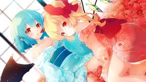 Rating: Safe Score: 55 Tags: 2girls aqua_hair blonde_hair flandre_scarlet flowers gengetsu_chihiro japanese_clothes kimono pointed_ears ponytail red_eyes remilia_scarlet short_hair touhou vampire wings User: Nepcoheart