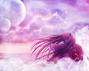 Rating: Safe Score: 18 Tags: airi_(quilt) animal bird clouds dress long_hair moon purple_hair quilt red_eyes red_hair sky wings User: Oyashiro-sama