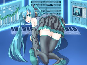 Rating: Safe Score: 46 Tags: aqua_eyes aqua_hair ass hatsune_miku instrument long_hair music piano thighhighs twintails vocaloid zettai_ryouiki User: HawthorneKitty