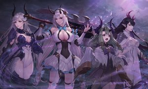 Rating: Safe Score: 72 Tags: alencia_(epic7) black_hair breasts cleavage clouds dragon epic7 fallen_cecilia_(epic7) green_hair horns loli long_hair luna_(epic7) pointed_ears red_eyes sky tail tfrdes1000 twintails weapon white_hair yufine_(epic7) User: BattlequeenYume