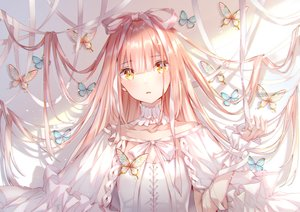 Rating: Safe Score: 123 Tags: butterfly long_hair original pink_hair ribbons yellow_eyes yumesaki User: BattlequeenYume