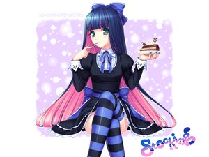 Rating: Safe Score: 164 Tags: blue_hair bow cake dress food green_eyes long_hair panty_&_stocking_with_garterbelt photoshop pink_hair ribbons sayori stocking_(character) thighhighs User: Kumacuda