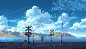 Rating: Safe Score: 50 Tags: aircraft black_hair clouds long_hair original scenic seifuku sennotane skirt sky water User: RyuZU