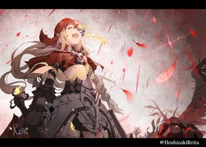 Rating: Safe Score: 60 Tags: armor blonde_hair cape fang feathers hoodie hoshizaki_reita long_hair red_riding_hood_(sinoalice) signed sinoalice watermark weapon User: FormX