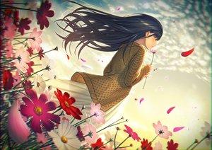 Rating: Safe Score: 37 Tags: black_hair clouds dress flowers long_hair original petals sky yukimi_dango User: RyuZU