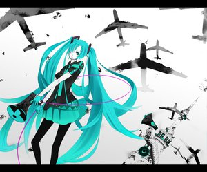 Rating: Safe Score: 55 Tags: aircraft aqua_eyes aqua_hair ciev hatsune_miku koi_wa_sensou_(vocaloid) long_hair monochrome twintails vocaloid User: anaraquelk2