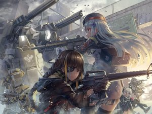 Rating: Safe Score: 85 Tags: aamond animal anthropomorphism atr bird braids brown_eyes brown_hair clouds eyepatch girls_frontline gun hat hk416_(girls_frontline) long_hair m16a1_(girls_frontline) m4_sopmod_ii_(girls_frontline) sky thighhighs ump-45_(girls_frontline) weapon white_hair User: BattlequeenYume