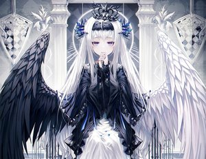 Rating: Safe Score: 102 Tags: aqua_eyes cropped goth-loli lolita_fashion long_hair okazu_(eightstudio) original polychromatic white_hair wings User: kyxor