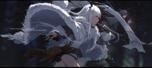 Rating: Safe Score: 36 Tags: animal black_hair blue_eyes gloves long_hair original pixiv_fantasia swd3e2 watermark weapon white_hair User: RyuZU