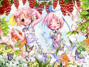 Rating: Safe Score: 5 Tags: 2girls animal bird blonde_hair dress flowers food fruit green_eyes loli pop ribbons short_hair water User: Oyashiro-sama