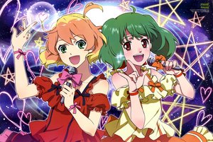 Rating: Safe Score: 16 Tags: 2girls bow freyja_wion green_eyes green_hair macross macross_delta macross_frontier microphone orange_hair ranka_lee shirakawa_ayako short_hair twintails wristwear User: RyuZU