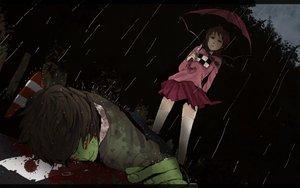 Rating: Safe Score: 84 Tags: blood madotsuki midoro rain shitaisan umbrella water yume_nikki User: FormX