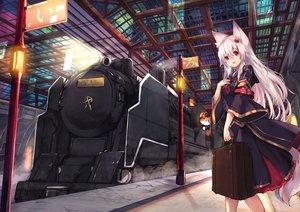 Rating: Safe Score: 33 Tags: animal building foxgirl haik long_hair original red_eyes tail train white_hair User: RyuZU