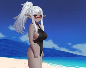 Rating: Safe Score: 37 Tags: aliasing beach bicolored_eyes breasts clouds cropped dark_skin gray_hair kuroonehalf long_hair original pointed_ears ponytail sideboob sky swimsuit water User: otaku_emmy