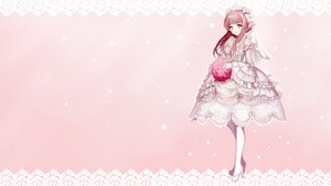 Rating: Safe Score: 72 Tags: brown_hair flowers headdress lolita_fashion moemoe3345 monochrome original photoshop pink wedding_attire User: Dummy