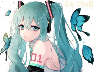 Rating: Safe Score: 10 Tags: aqua_eyes aqua_hair butterfly hatsune_miku kozu_(bloomme1_me) long_hair twintails vocaloid User: FormX