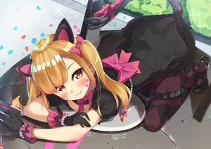 Rating: Safe Score: 94 Tags: animal_ears blonde_hair blush bow catgirl cat_smile dress d.va gloves goth-loli lolita_fashion long_hair orange_eyes overwatch pantyhose parutoneru tail twintails User: BattlequeenYume