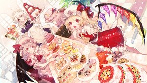 Rating: Safe Score: 33 Tags: apron blonde_hair book cake cherry dress drink fang flandre_scarlet food fruit group hat headdress izayoi_sakuya maid mochacot music patchouli_knowledge ponytail purple_hair red_eyes remilia_scarlet signed skirt strawberry teddy_bear touhou vampire white_hair wings User: RyuZU