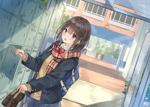 Rating: Safe Score: 45 Tags: blue_eyes blush brown_hair building miko_fly original scarf school_uniform short_hair signed skirt User: Dreista