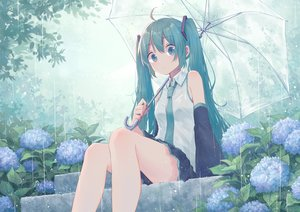 Rating: Safe Score: 128 Tags: flowers green_eyes green_hair hatsune_miku long_hair mimengfeixue rain skirt stairs tie twintails umbrella vocaloid water User: BattlequeenYume