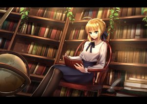 Rating: Safe Score: 50 Tags: blonde_hair book braids fate_(series) fate/stay_night green_eyes leaves pantyhose saber skirt User: luckyluna