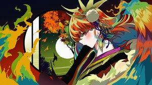 Rating: Safe Score: 50 Tags: autumn berryverrine fire headdress hololive japanese_clothes kimono moon polychromatic red_eyes red_hair takanashi_kiara tree User: Dreista