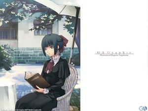 Rating: Safe Score: 9 Tags: black_hair book bow dress gagraphic gray_eyes logo nagahama_megumi short_hair umbrella watermark User: Oyashiro-sama