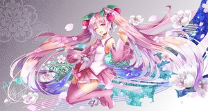 Rating: Safe Score: 30 Tags: boots cherry_blossoms flowers hatsune_miku long_hair microphone pink_eyes pink_hair sakura_miku signed skirt tattoo thighhighs tie twintails tyouya vocaloid User: otaku_emmy