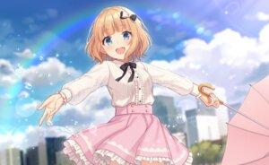 Rating: Safe Score: 63 Tags: blonde_hair blue_eyes bow building city clouds dress nagisa3710 original rainbow shirt short_hair skirt umbrella water User: Nepcoheart