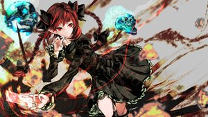 Rating: Safe Score: 164 Tags: animal_ears bow braids catgirl dress kaenbyou_rin long_hair magic pointed_ears red_eyes red_hair skull touhou yutapon User: Flandre93
