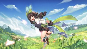 Rating: Safe Score: 60 Tags: animal_ears bow brown_eyes brown_hair clouds douwo_mkd flowers garter grass landscape long_hair red:_pride_of_eden scenic shorts sky tagme_(character) tie User: Dreista