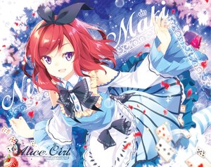Rating: Safe Score: 86 Tags: alice_in_wonderland apron bow collar cosplay dress headband love_live!_school_idol_project mocha_(naturefour) nishikino_maki petals purple_eyes red_hair short_hair User: otaku_emmy