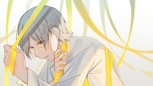Rating: Safe Score: 20 Tags: all_male gray_hair male omutatsu original ribbons short_hair yellow_eyes User: RyuZU
