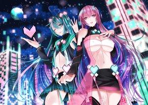 Rating: Safe Score: 51 Tags: 2girls fuyuki_jun hatsune_miku long_hair megurine_luka twintails vocaloid User: luckyluna