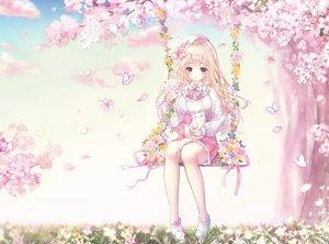 Rating: Safe Score: 63 Tags: animal blonde_hair blush bow butterfly cat cherry_blossoms danby_merong flowers hat lolita_fashion long_hair original red_eyes skirt tree User: otaku_emmy