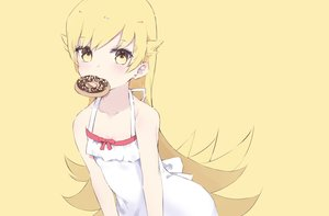 Rating: Safe Score: 46 Tags: bakemonogatari blonde_hair dress loli long_hair monogatari_(series) oshino_shinobu summer_dress tr_(hareru) yellow yellow_eyes User: FormX