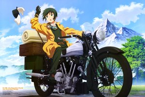 Rating: Safe Score: 24 Tags: clouds gloves goggles green_eyes green_hair hermes kino kino_no_tabi motorcycle scan short_hair sky tagme_(artist) tree watermark User: RyuZU