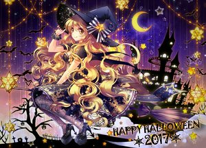 Rating: Safe Score: 47 Tags: animal bat blonde_hair bow braids halloween hat kirisame_marisa lilithbloody long_hair moon pantyhose silhouette touhou witch witch_hat wristwear yellow_eyes User: RyuZU