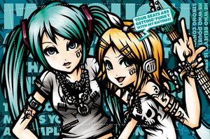 Rating: Safe Score: 38 Tags: blonde_hair green_eyes green_hair guitar hatsune_miku headphones instrument kagamine_rin long_hair necklace project.c.k. short_hair tattoo twintails vocaloid User: Tensa