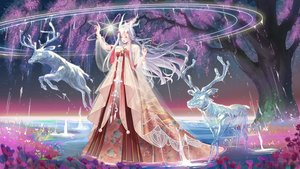 Rating: Safe Score: 50 Tags: animal chinese_clothes dress flowers gray_hair horns long_hair magic sesgusi shining_nikki signed tagme_(character) tree water User: BattlequeenYume