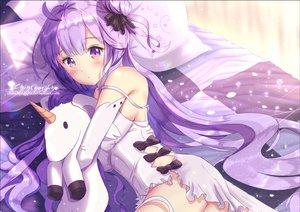 Rating: Safe Score: 67 Tags: anthropomorphism azur_lane bed blush bow chinchongcha dress elbow_gloves gloves long_hair purple_eyes purple_hair unicorn_(azur_lane) watermark User: BattlequeenYume