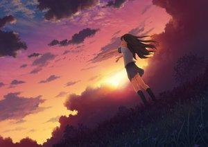 Rating: Safe Score: 101 Tags: 3gatsu_(mitsuki) animal bird brown_hair flowers grass long_hair seifuku sky sunset User: luckyluna