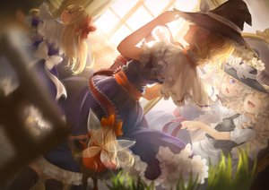 Rating: Safe Score: 72 Tags: alice_margatroid blonde_hair blue_eyes boots bow braids doll dress hat hourai jyuui kirisame_marisa long_hair mirror pantyhose shanghai_doll short_hair touhou wings witch User: mattiasc02